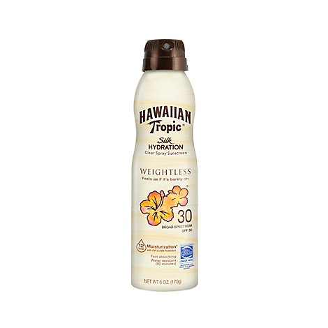 Hawaiian Tropic Silk Hydration Sunscreen Spray Clear Broad Spectrum SPF 30 - 6 Oz