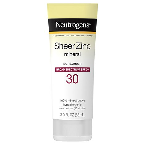 Neutrogena Sheer Zinc Sunscreen Protection Dry-Touch Broad Spectrum SPF 30 - 3 Fl. Oz.