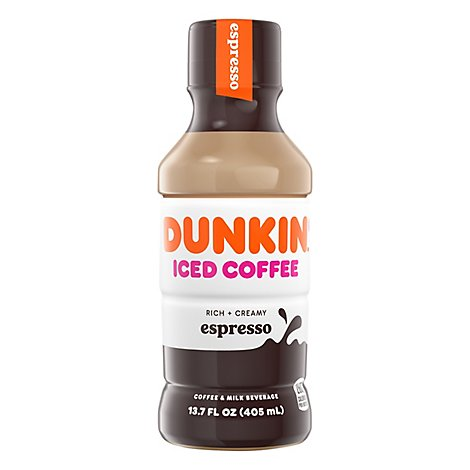 Dunkin Donuts Iced Coffee Beverage Espresso Bottle - 13.7 Fl. Oz.