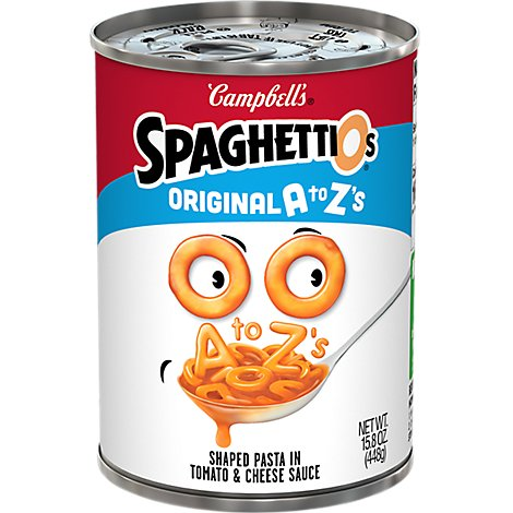 Campbells SpaghettiOs Pasta in Tomato and Cheese Sauce A to Zs Can - 15.8 Oz