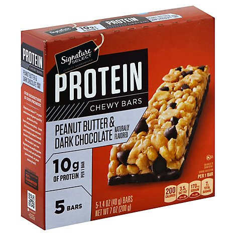 Signature SELECT Chewy Bars Protein Peanut Butter Dark Chocolate Flavored - 5-1.4 Oz