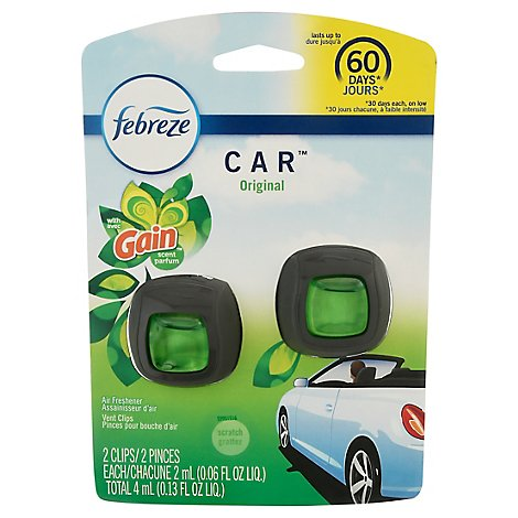 Febreze CAR Air Refreshener Original Vent Clip With Gain Scent - 2 Count