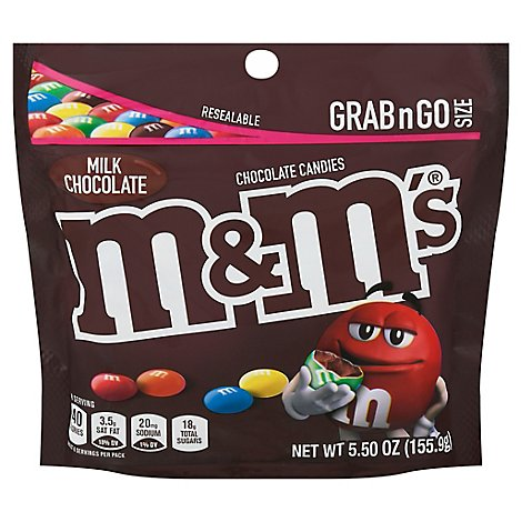 M&Ms Milk Chocolate Candy Grab & Go Size Bag 5.5 Oz