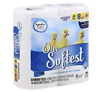 Signature Care/Home Bathroom Tissue Ultra Our Softest Double Roll 2-Ply Sheets - 4 Count