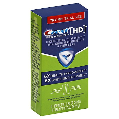 Crest Pro-Health HD Toothpaste 2 Step System Purifying Cleanser & Perfecting Gel Kit - 1.53 Oz