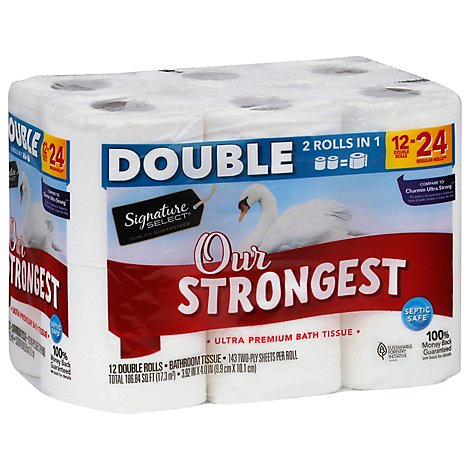 Signature Care Bath Tissue Ultra Premium Our Strongest Double Rolls 2 Ply - 12 Count