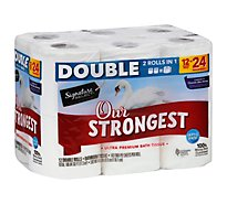 Signature Home Bath Tissue Ultra Premium Our Strongest Double Rolls 2 Ply - 12 Roll