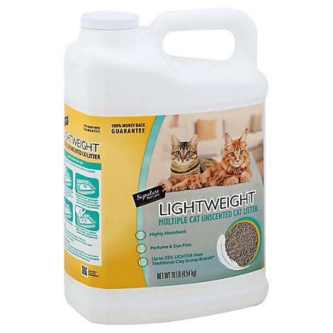 Signature Pet Care Cat Litter Lightweight Clumping Unscented Multiple Cat - 10 Lb