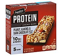 Signature SELECT Chewy Bars Protein Peanut Almond Dark Chocolate Flavored - 5-1.4 Oz