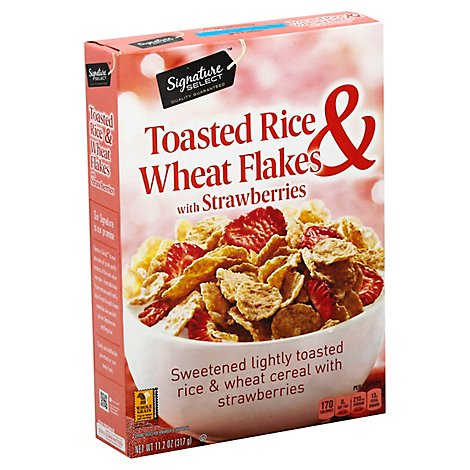 Signature SELECT Rice And Wheat Flakes With Strawberries - 11.2 Oz