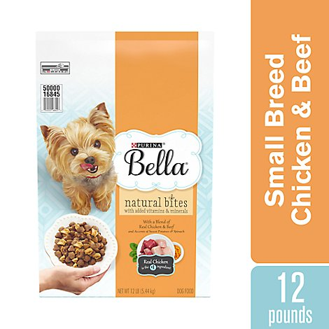 Bella Dog Food Dry Natural Bites Chicken & Beef And Accents Of Sweet Potatoes & Spinach - 12 Lb
