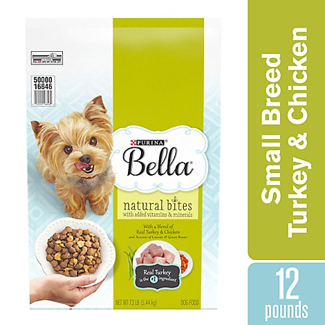 Bella Dog Food Dry Natural Bites Turkey & Chicken And Accents Of Carrots & Green Beans - 12 Lb