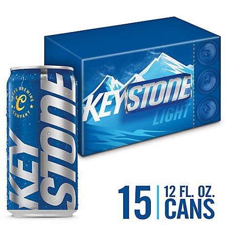 Keystone Light Beer Lager 4.1% ABV In Cans - 15-12 Fl. Oz.