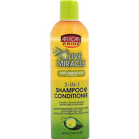 African Pride Olive Miracle Shampoo & Conditioner 2-In-1 Anti-Breakage Formula - 12 Fl. Oz.
