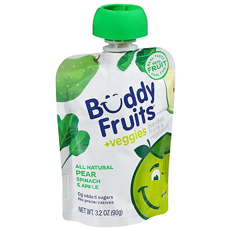 Buddy Fruits & Veggies Fruits & Vegetables Blended Apple Spinach & Pear - 3.2 Oz