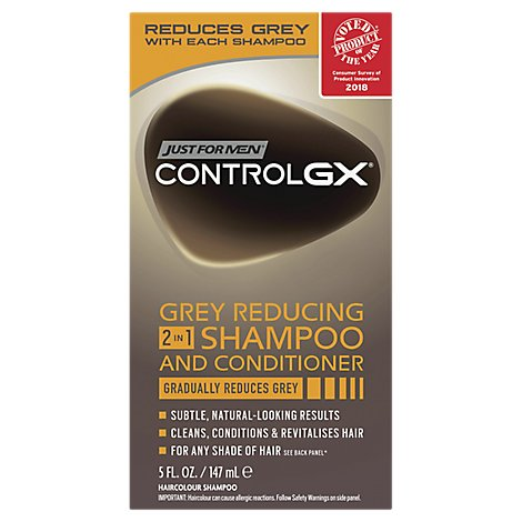 Just For Men ControlGX Shampoo and Conditioner 2 in 1 Grey Reducing - 5 Fl. Oz.