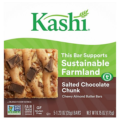 Kashi Chewy Nut Butter Bars Salted Chocolate Chunk 5Ct 6.15oz