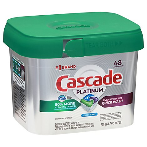 Cascade Platinum Dishwasher Detergent ActionPacs Fresh Scent - 48 count