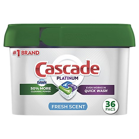 Cascade Platinum Dishwasher Detergent ActionPacs Fresh Scent Tub - 36 Count