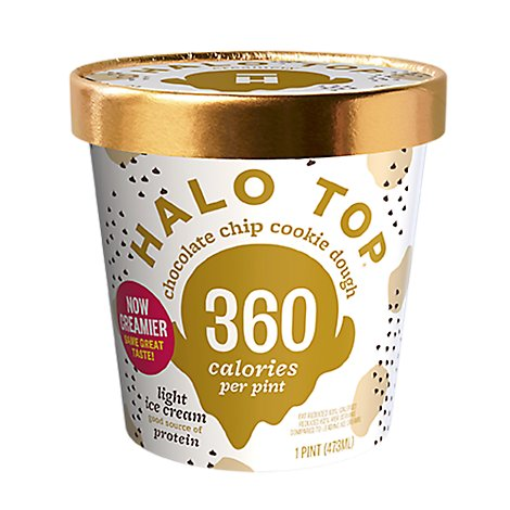 Halo Top Ice Cream Light Chocolate Chip Cookie Dough - 1 Pint