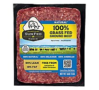 SunFed Ranch Grass Fed Beef Ground Beef Brick 90% Lean 10% Fat - 1.00 Lb