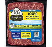 SunFed Ranch Grass Fed Beef Ground Beef Brick 80% Lean 20% Fat - 1.00 Lb