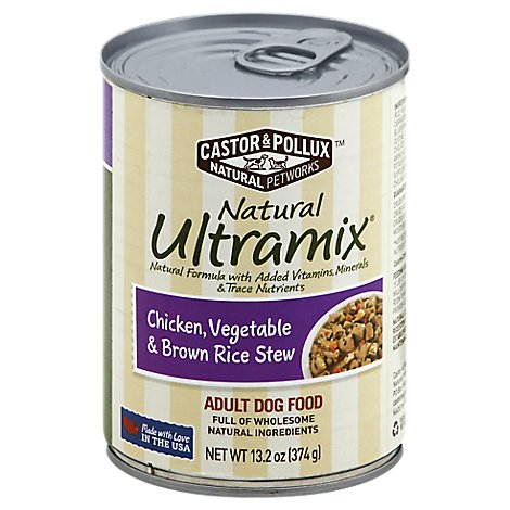 Castor & Pollux Natural Ultramix Dog Food Adult Chicken Vegetable & Brown Rice Stew Can - 13.2 Oz