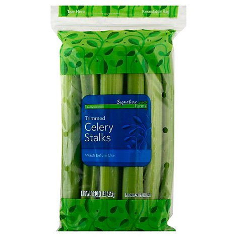 Signature Farms Trimmed Celery Stalks Washed Prepacked - 16 Oz