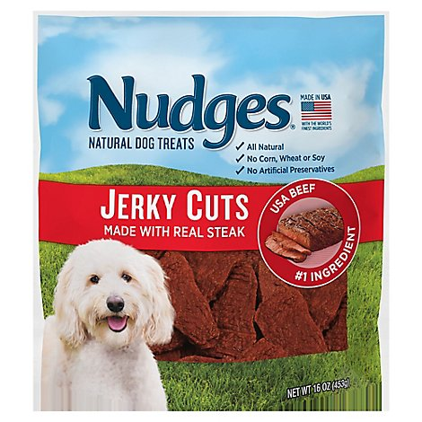 Nudges Natural Dog Treats Jerky Cuts Made With Real Steak Pouch - 16 Oz