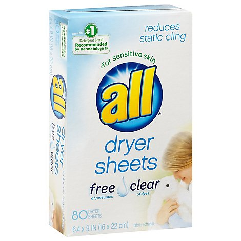 all Dryer Sheets Free Clear Box - 80 Count