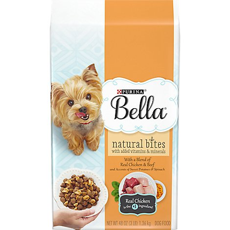 Bella Dog Food Dry Natural Bites Chicken & Beef And Accents Of Sweet Potatoes & Spinach - 3 Lb