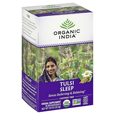Organic India True Wellness Tulsi Sleep Tea Organic Caffeine-Free 18 Count - 1.14 Oz