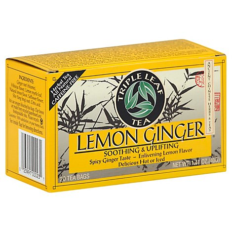 Triple Leaf Tea Herbal Tea Caffeine-Free Lemon Ginger - 20 Count