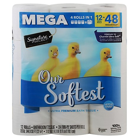 Signature Care/Home Bathroom Tissue Ultra Our Softest Mega Roll 2-Ply Wrapper - 12 Count