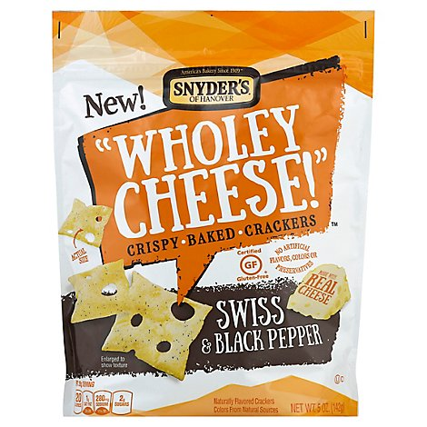 Snyders of Hanover Wholey Cheese! Baked Crackers Crispy Swiss & Black Pepper - 5 Oz