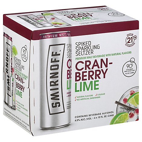 Smirnoff Spiked Seltzer Cranberry Lime In Cans - 6-12 Fl. Oz.