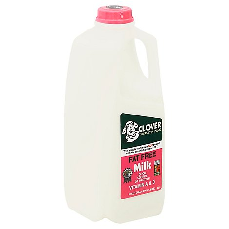 Clover Fat Free Milk Jug - Half Gallon