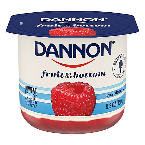 Dannon Yogurt Lowfat Fruit On The Bottom Raspberry - 5.3 Oz