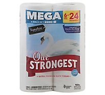 Signature Care Bathroom Tissue Ultra Premium Our Strongest Mega Roll 2 Ply Wrapper - 6 Count