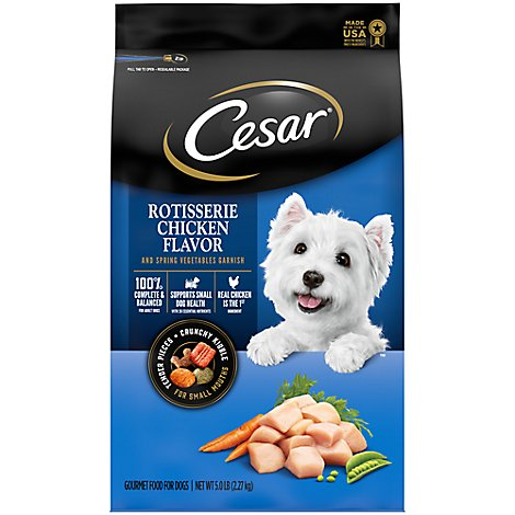 Cesar Dog Food Dry Small Breed Rotisserie Chicken Flavor With Spring Vegetables Garnish Bag - 5 Lb