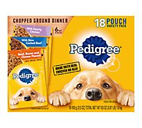 PEDIGREE Dog Food Ground Dinner With Chicken Slow Cooked Beef Bacon & Cheese Mignon - 18-3.5 Oz