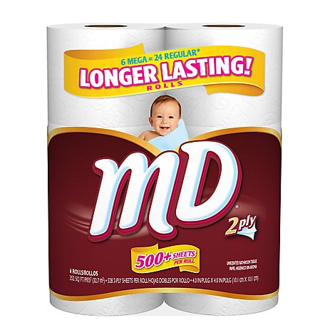 MD Bathroom Tissue Mega Roll Wrapper - 6 Count