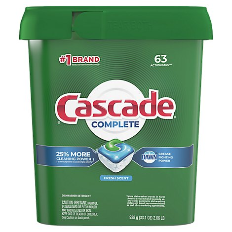 Cascade Complete Dishwasher Detergent ActionPacs Fresh Scent - 63 Count