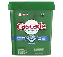 Cascade Complete Dishwasher Detergent ActionPacs Fresh Scent Tub - 63 Count