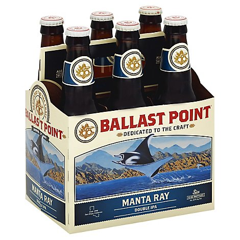 Ballast Point Manta Ray Double IPA Craft Beer Bottles 8.5% ABV - 6-12 Fl. Oz.