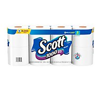 Scott 1000 Bathroom Tissue Unscented 1 Ply - 8 Roll