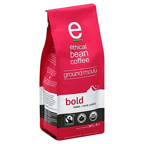 ethical bean coffee Coffee Ground Dark Roast Bold - 8 Oz