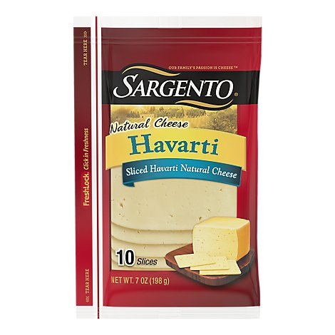 Sargento Cheese Slices Natural Harvarti 10 Count - 7 Oz