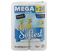 Signature Care/Home Bathroom Tissue Ultra Our Softest Mega Roll 2 Ply Wrapper - 6 Count