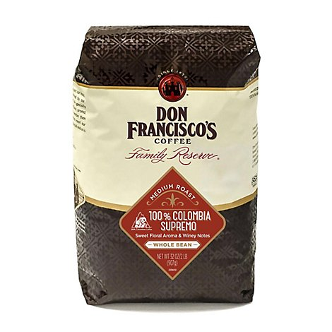 Don Franciscos Coffee Family Reserve Coffee Whole Bean Medium Roast Colombia Supremo - 32 Oz